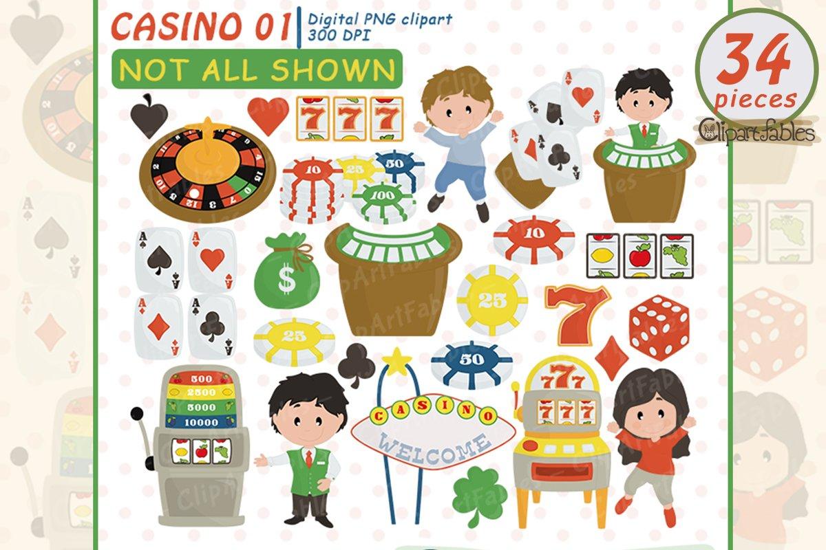 Cute CASINO clipart, Gambling Clip art, Poker - Digital art example image 1