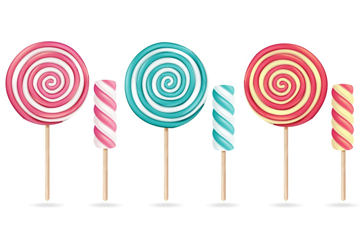 Round Pink Lollipop Set Vector. Cream Marshmallow On Stick. example image 1