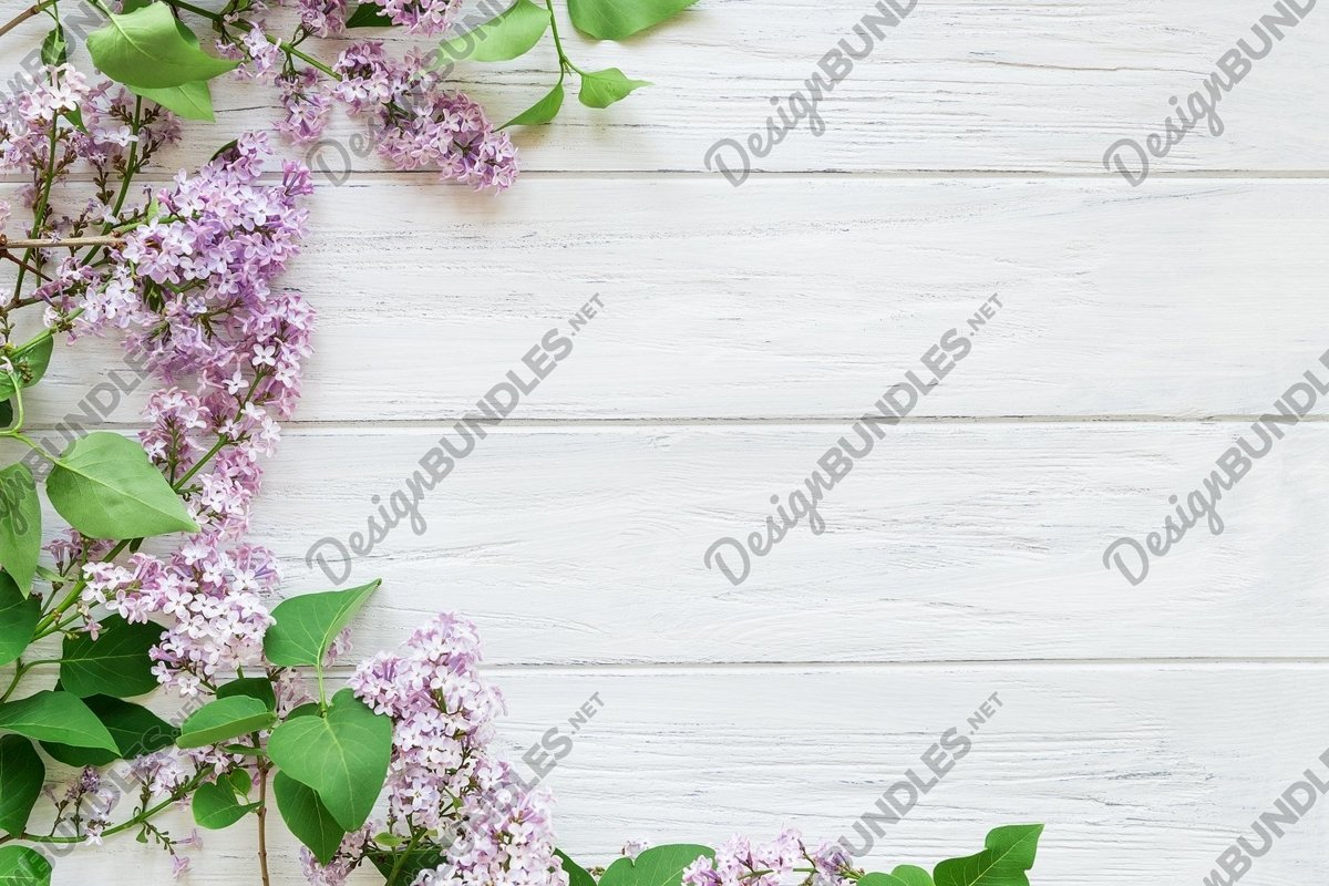 Left lilac border on a white aged wooden background example image 1