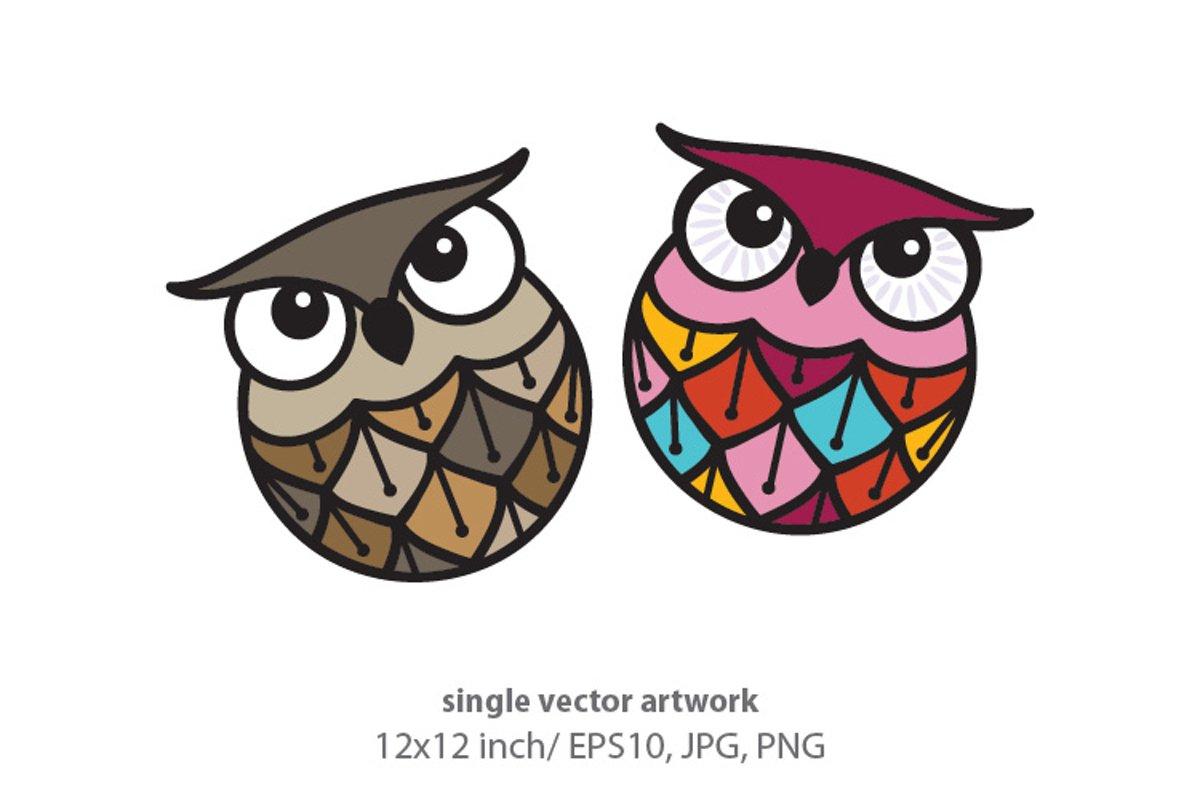 owls - single vector artwork example image 1