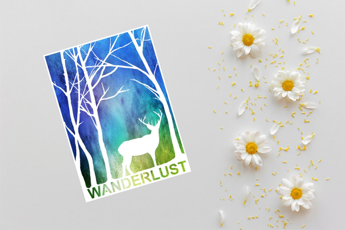 Wanderlust Papercutting Template, Deer SVG, Woodland SVG example image 1