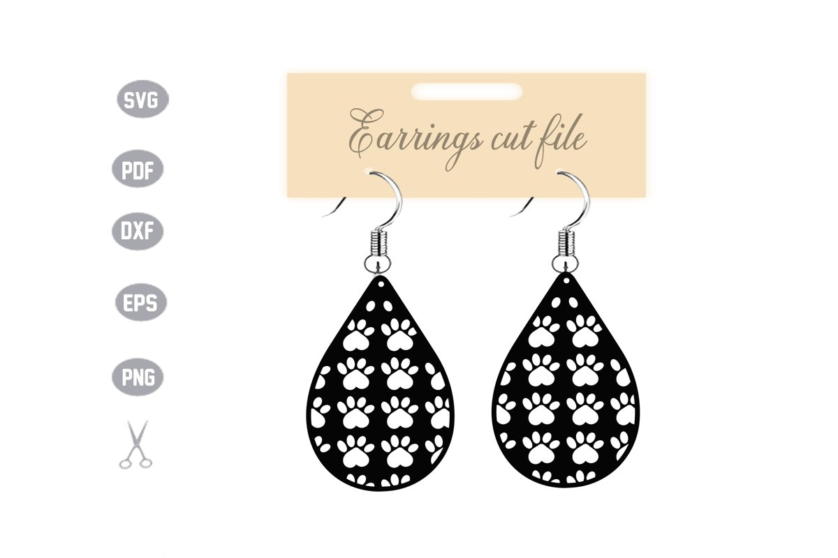 Dog Foot Earrings Template SVG example image 1