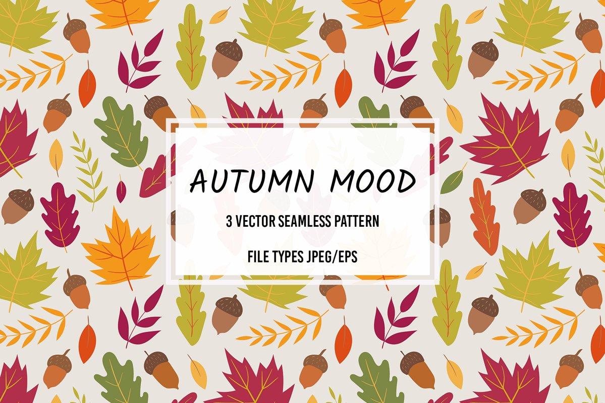Autumn vector seamless pattern. Autumn mood. example image 1