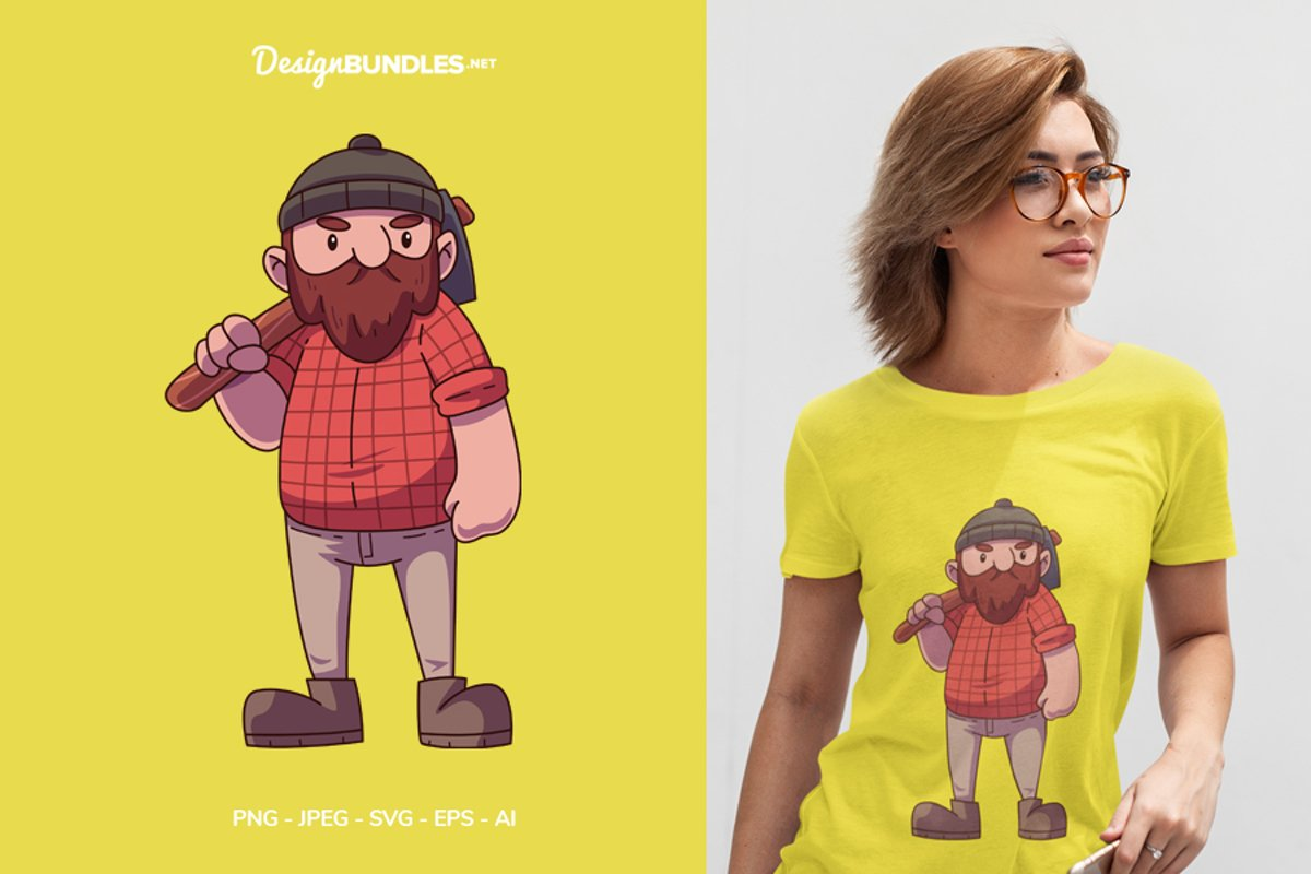 Lumberjack Ready to Work! Illustration For T-Shirt Design example image 1