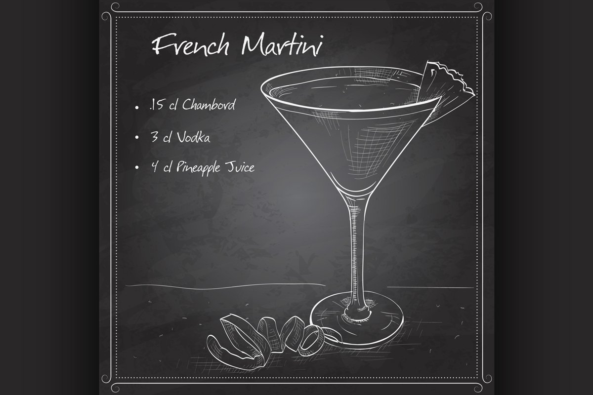 French Martini cocktail on black board example image 1