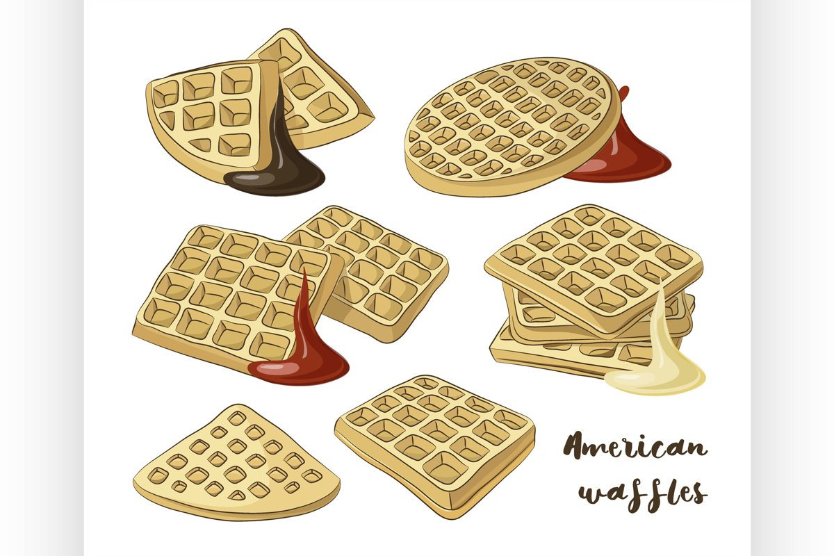 Vector illustration of various American waffles. example image 1