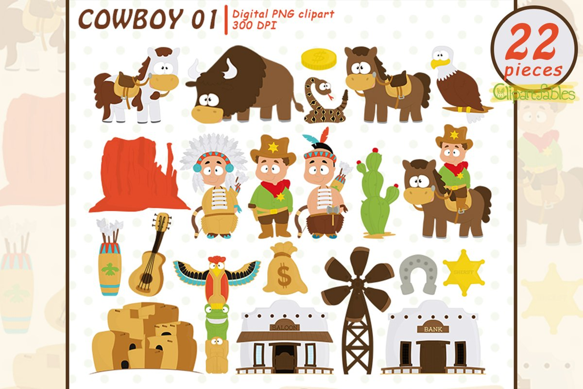 Cute WESTERN clip art, Cowboy clipart, Sheriff design example image 1