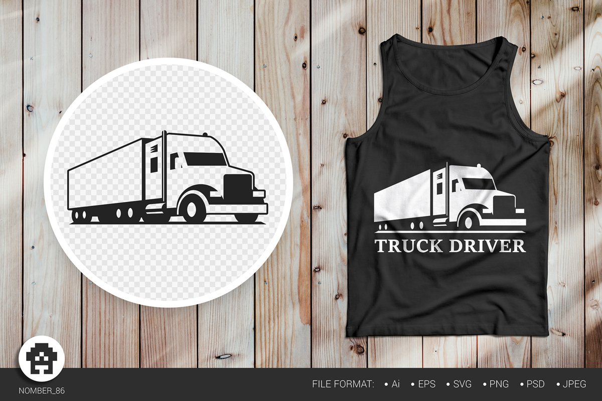 Truck svg, black and white t-shirt truck print. example image 1