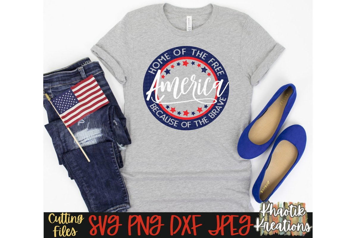 America Svg, 4th of July Svg, Home of the Free Svg, Brave example image 1