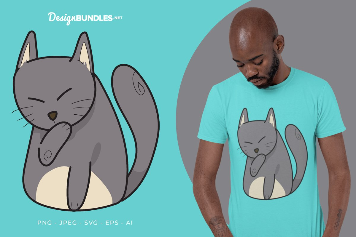 Grey Cat Licking Hand Vector Illustration For T-Shirt Design example image 1
