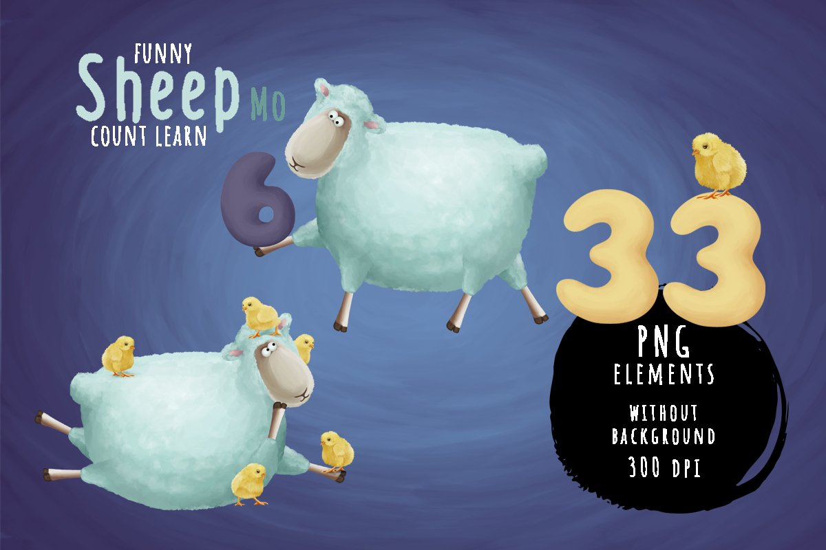 Count learn with funny sheep example image 1