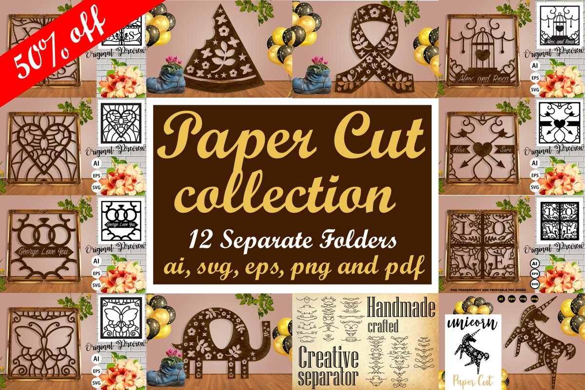 Paper Cut Pack Collection Vol. 1 - SVG, AI, EPS, PNG, PDF example image 1