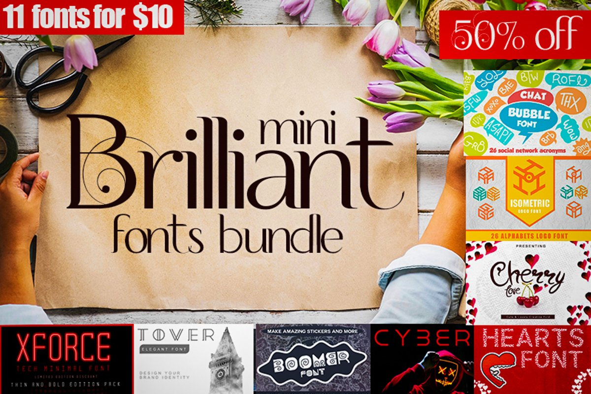 Mini brilliant Font bundle - 11 Creative Fonts example image 1
