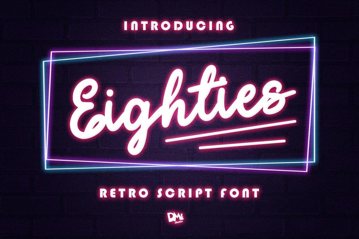 Eighties - Retro Script Font example image 1