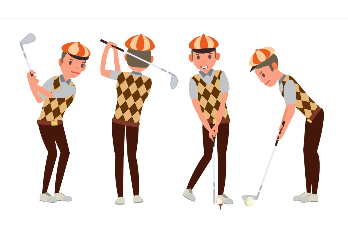 Classic Golf Player Vector. Swing Shot On Course. Diferent example image 1