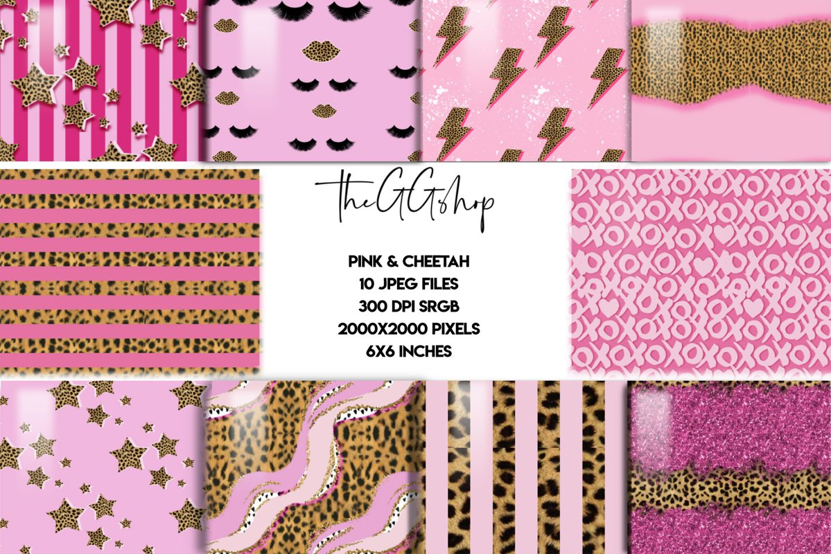 Girly Cheetah Print Seamless Pattern Collection example image 1