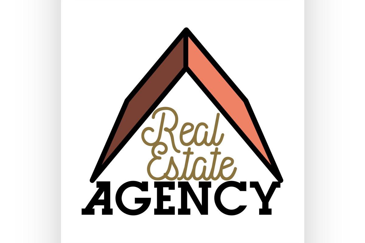 Color vintage real estate agency emblem example image 1