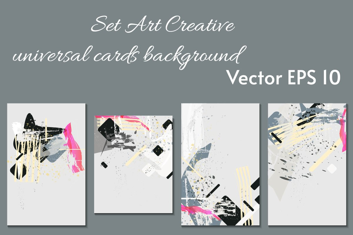 ART paslel colors card templates SET example image 1