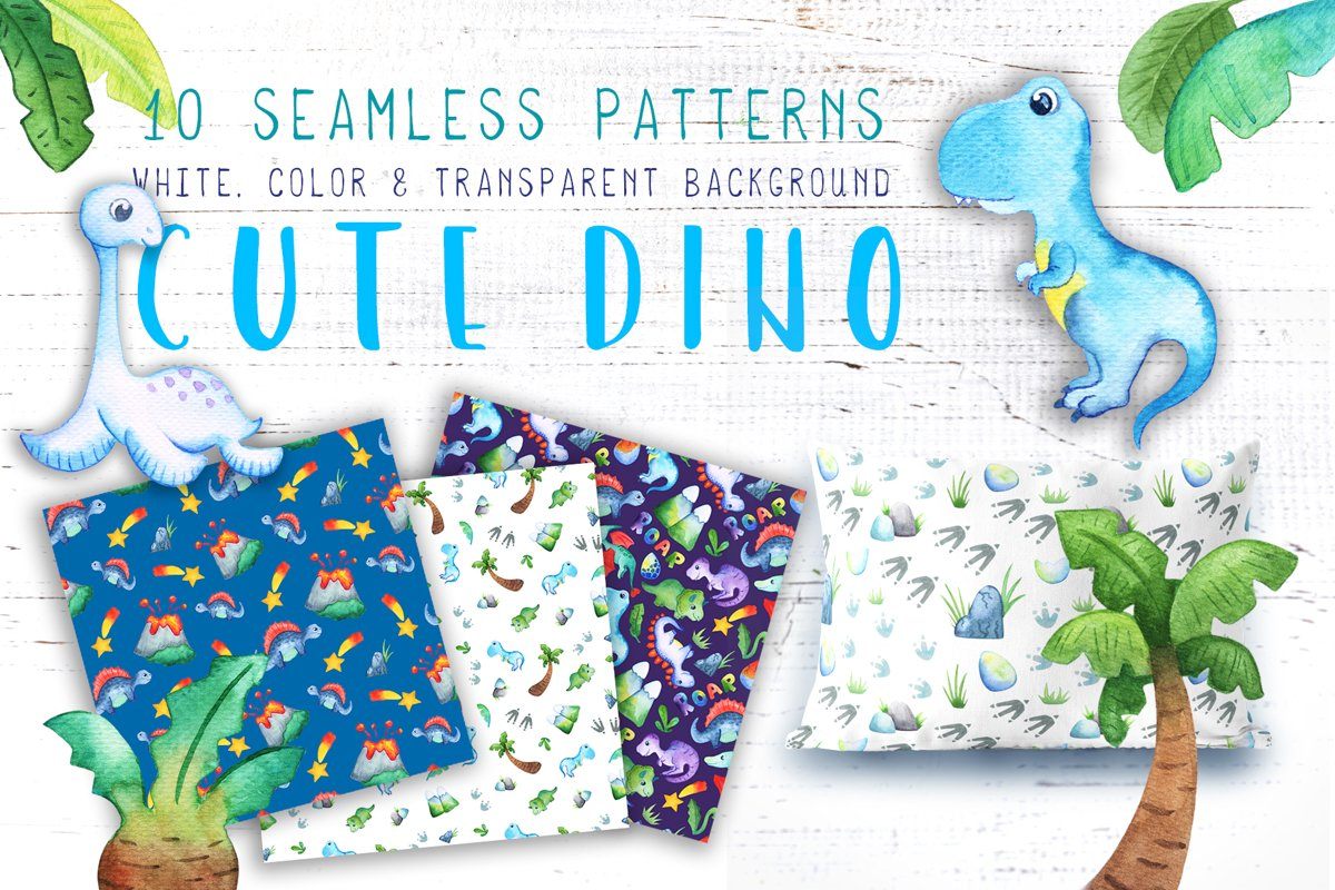 Watercolor Dinosaur Seamless Pattern Collection example image 1