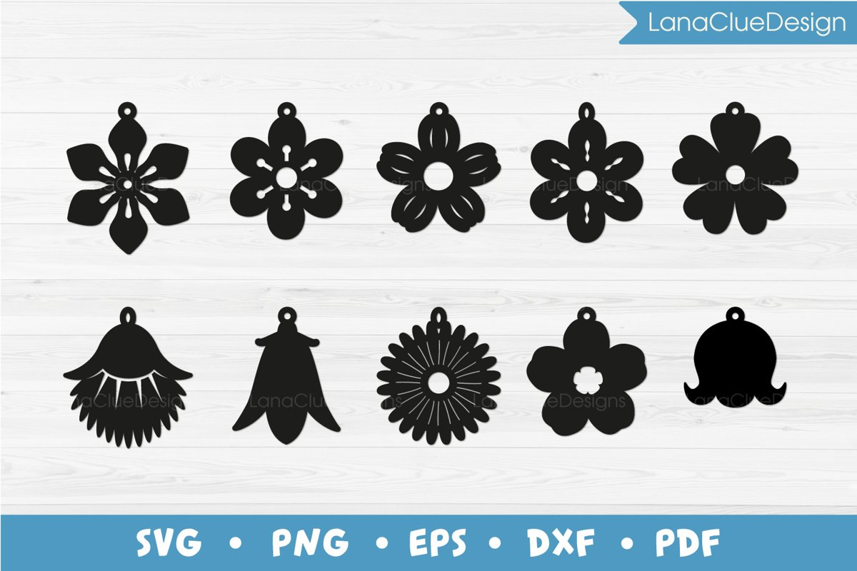 10 Wildflower Earrings SVG example image 1