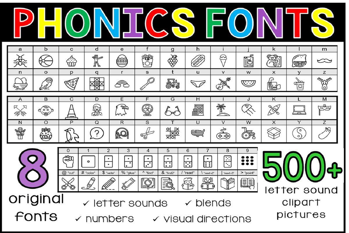 Phonics Fonts Bundle - 8 Clip Art Fonts example image 1