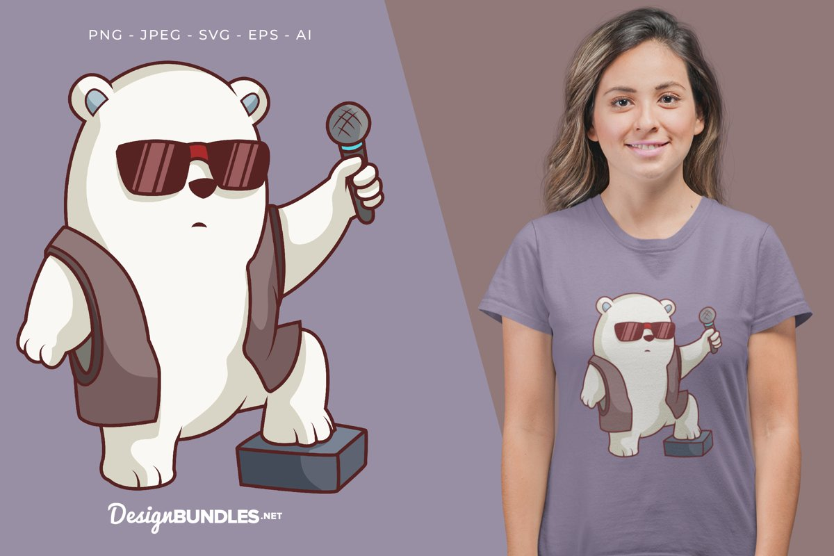 Polar Bear as Vocalist Illustration For T-Shirt Design example image 1