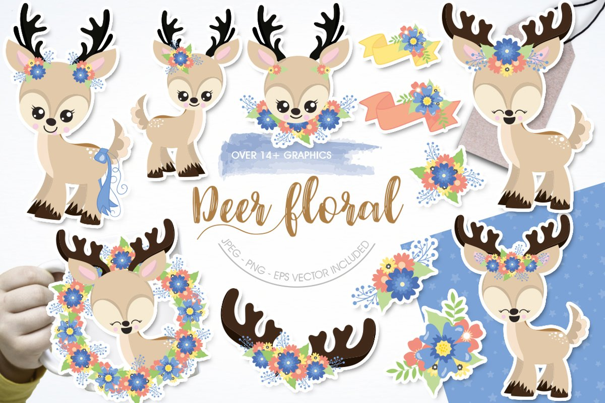 deer flowers antlers Graphics and illustrations, vector example image 1