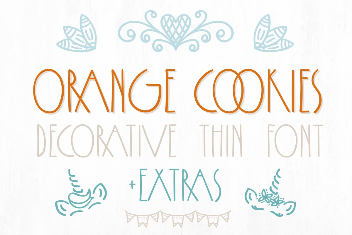 Orange Cookies - thin font with extra characters pictures example image 1