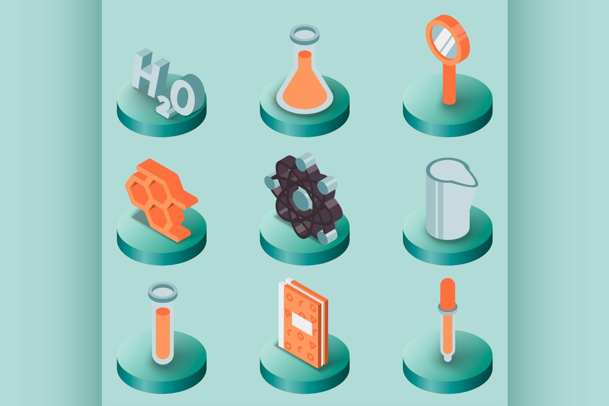 Chemical color isometric icons example image 1