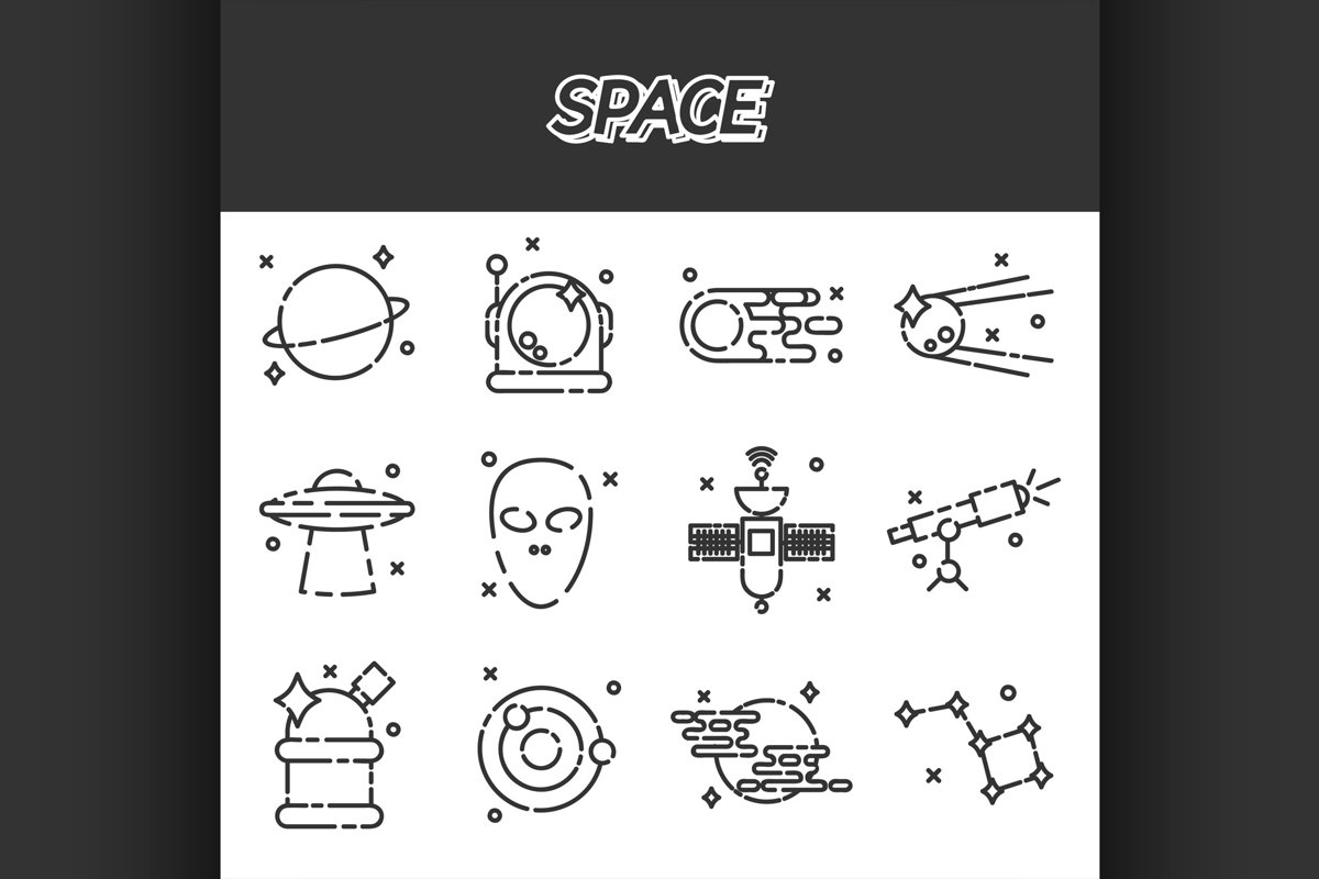 Space flat icons set example image 1