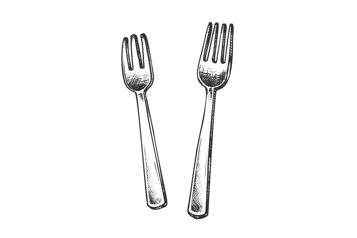 Forks Metallic Meal Kitchenware Monochrome Vector example image 1