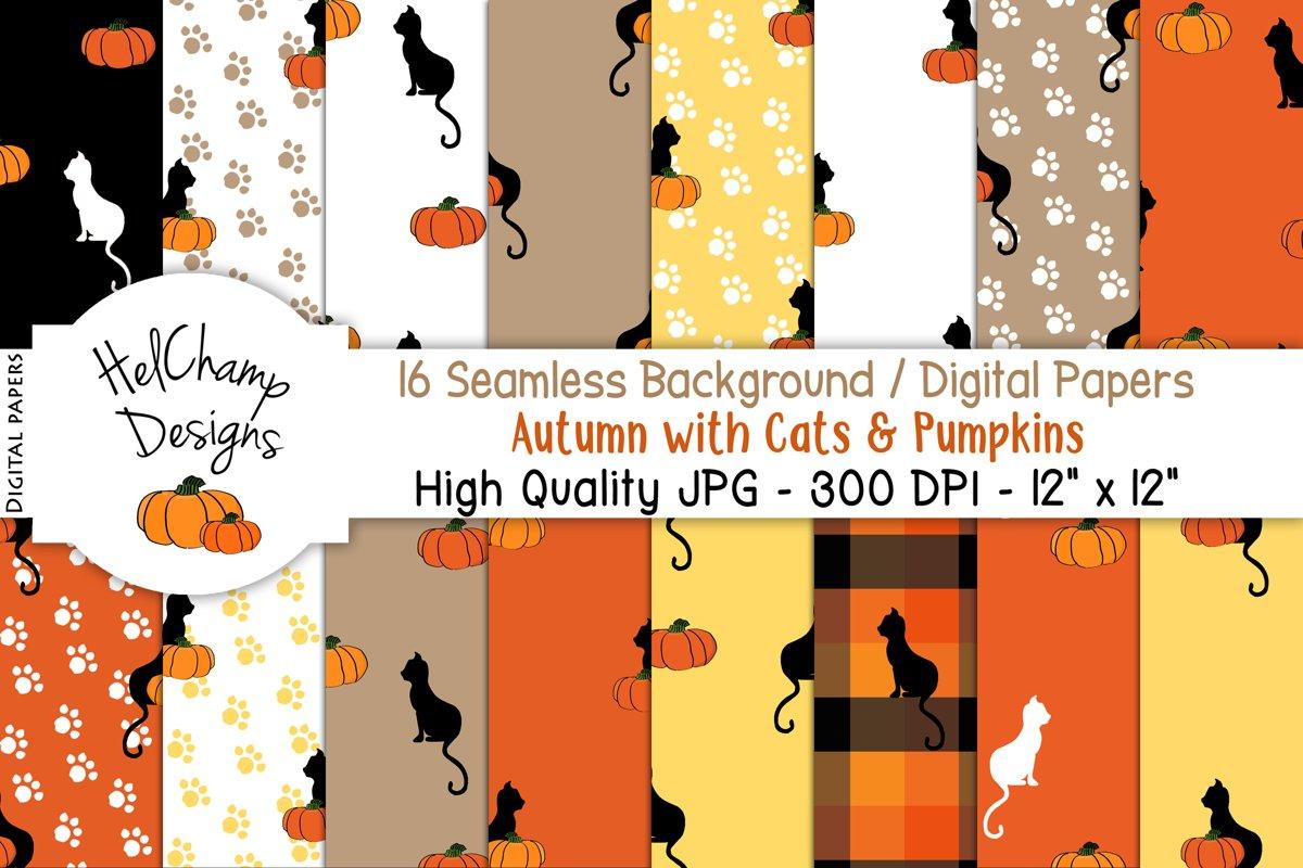 16 seamless Digital Papers - Autumn Cats Pumpkins - HC002 example image 1