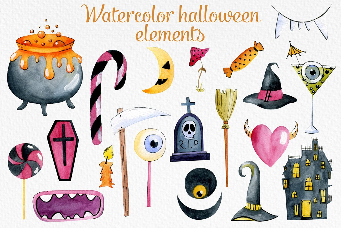 Watercolor halloween elements example image 1