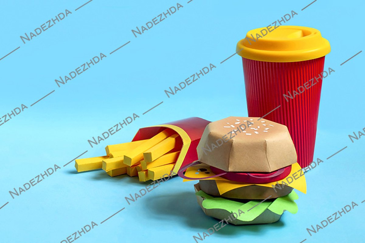 Hamburger, french fries and drink in glass made of paper example image 1