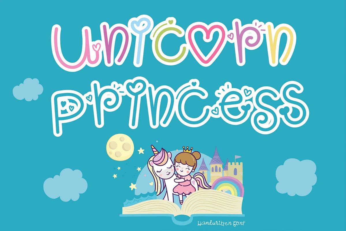 Unicorn princess Handwritten- Cute font Kawaii style example image 1
