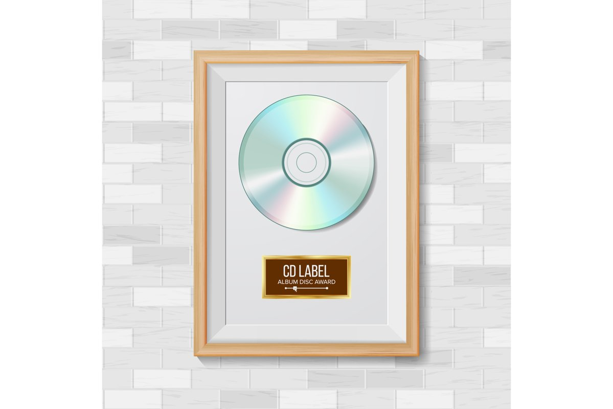 CD Disc Award Vector. Best Seller. Musical Trophy. Realistic example image 1