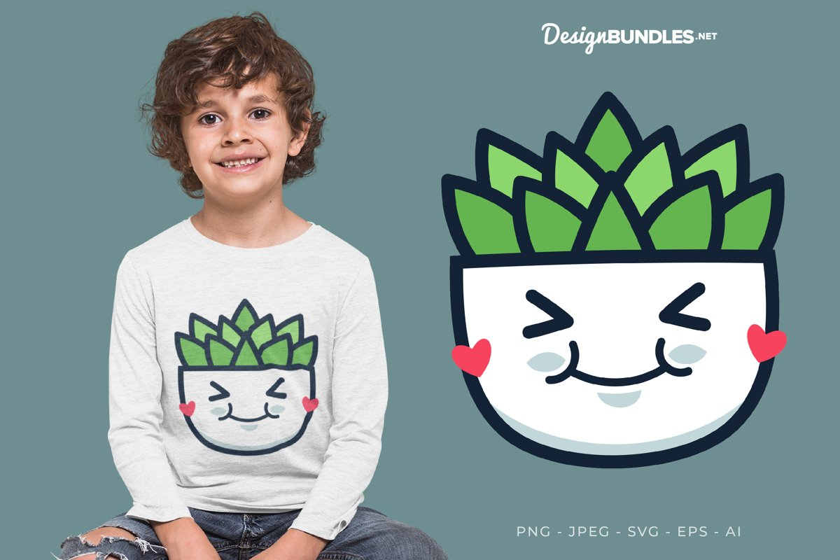 Adorable Cactus Vector Illustration For T-Shirt Design example image 1