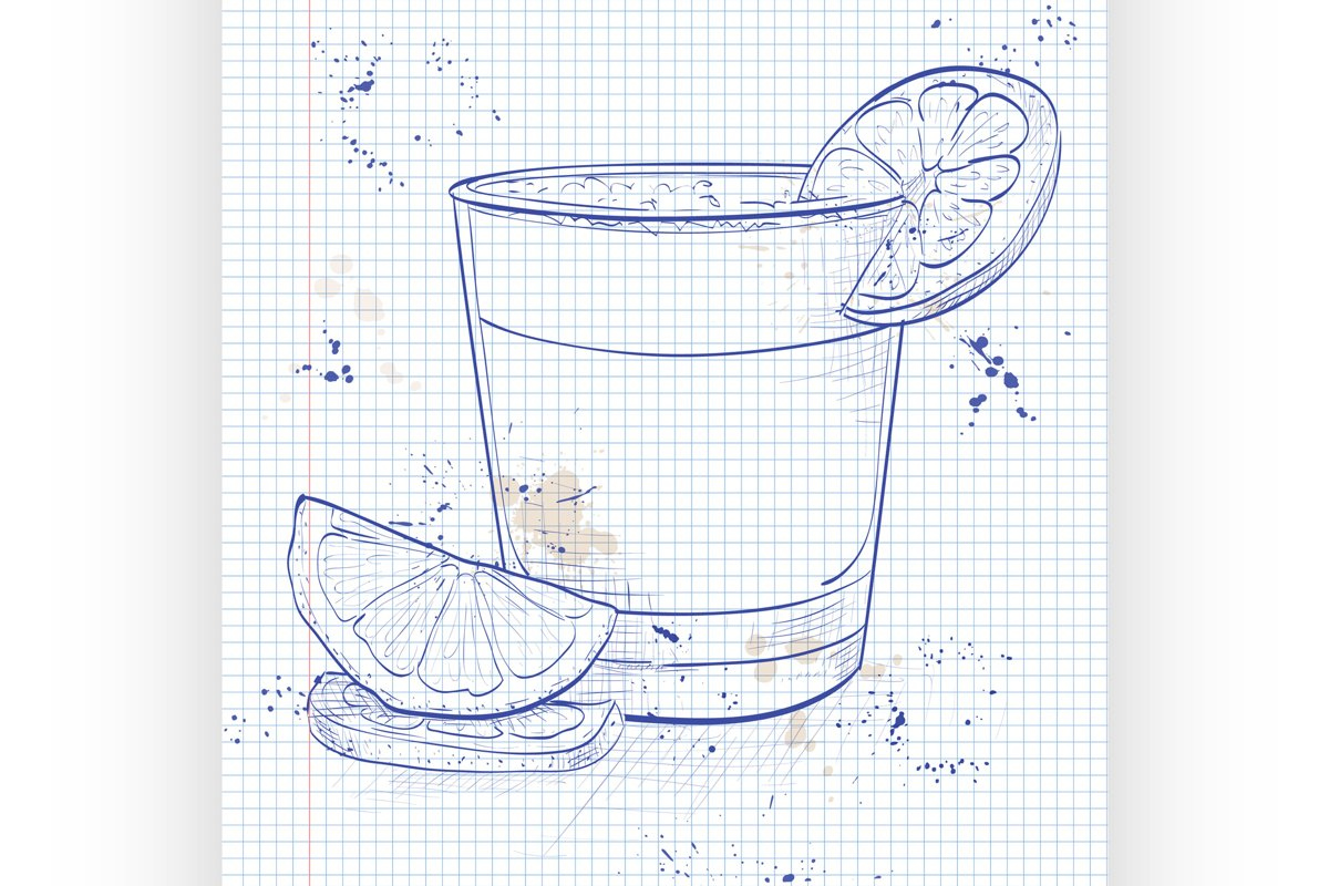 Cocktail Pisco sour on a notebook page example image 1