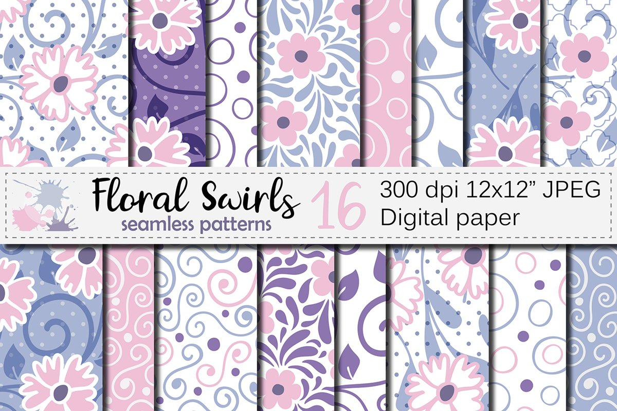 Floral swirls blue, pink, purple seamless digital paper example image 1