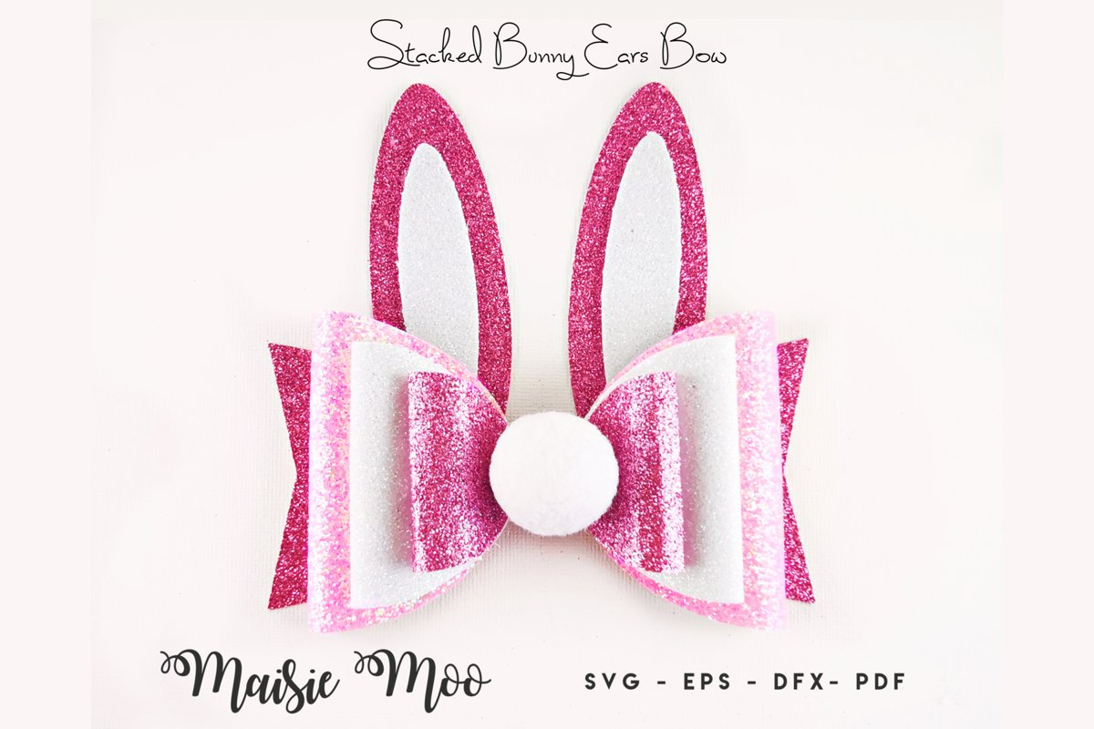 Easter Bow Template SVG, Bunny Ears Bow SVG, Rabbit Bow PDF, example image 1
