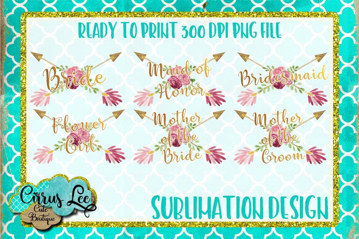 Bridal Party Sublimation Design Set example image 1
