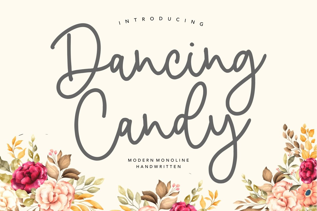 Dancing Candy Modern Monoline Handwritten Font example image 1