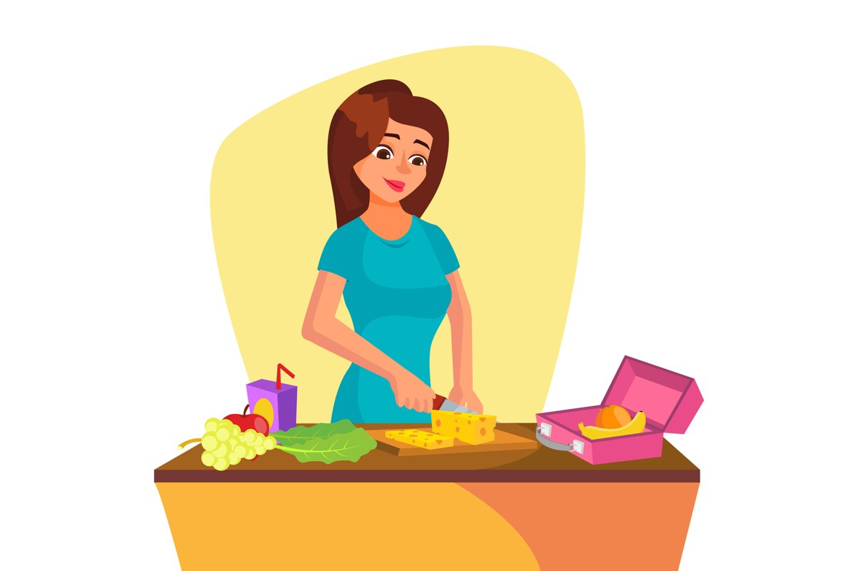 Lunch Box Vector. Young Woman Making Lunch In The Morning. example image 1