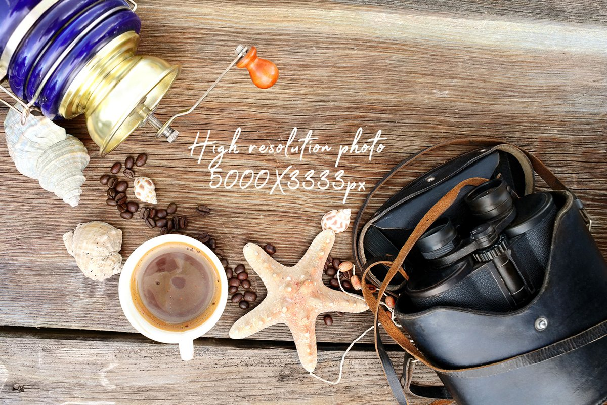 Coffee wooden background with coffee, mug, coffee mill example image 1