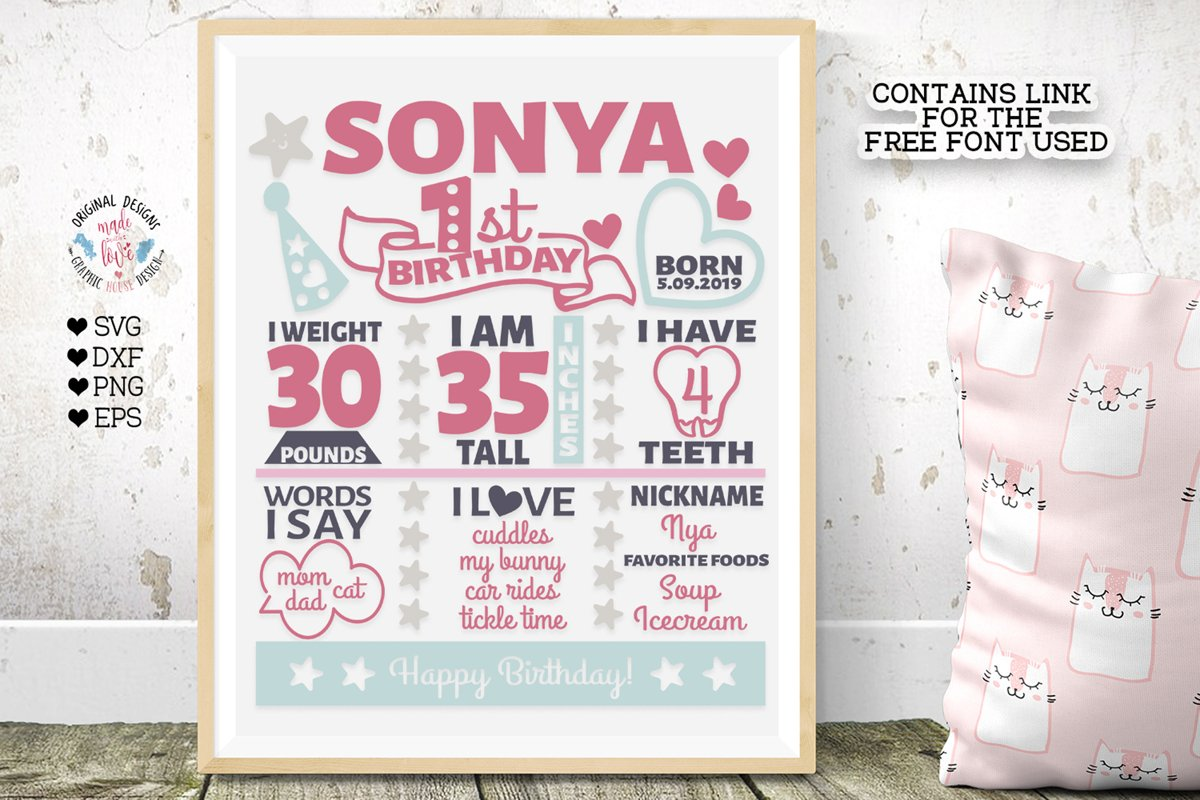 First Birthday Baby Chart - Birthday SVG - Birthday Print ...