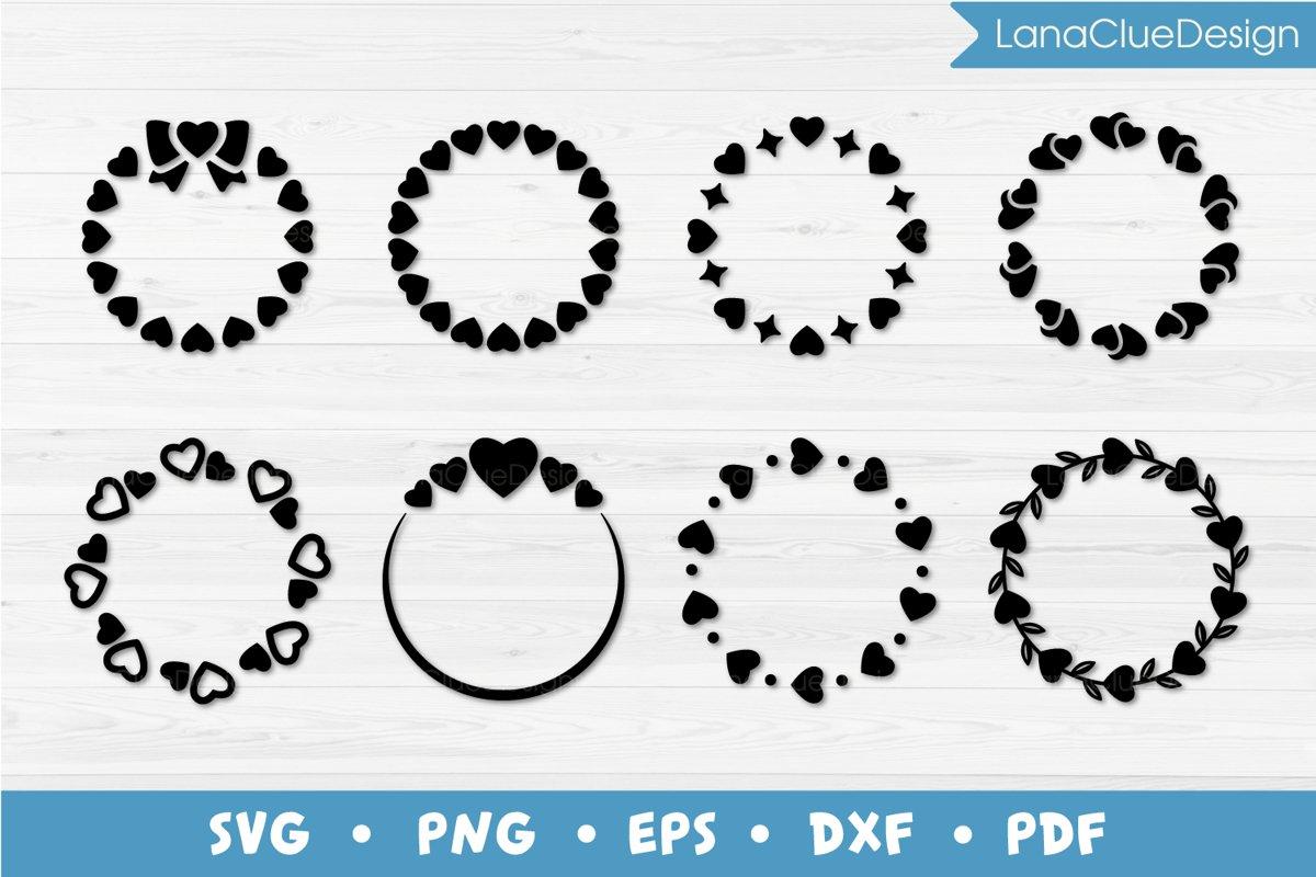 8 Circle Hearts Frames SVG, Round Monogram Frames example image 1