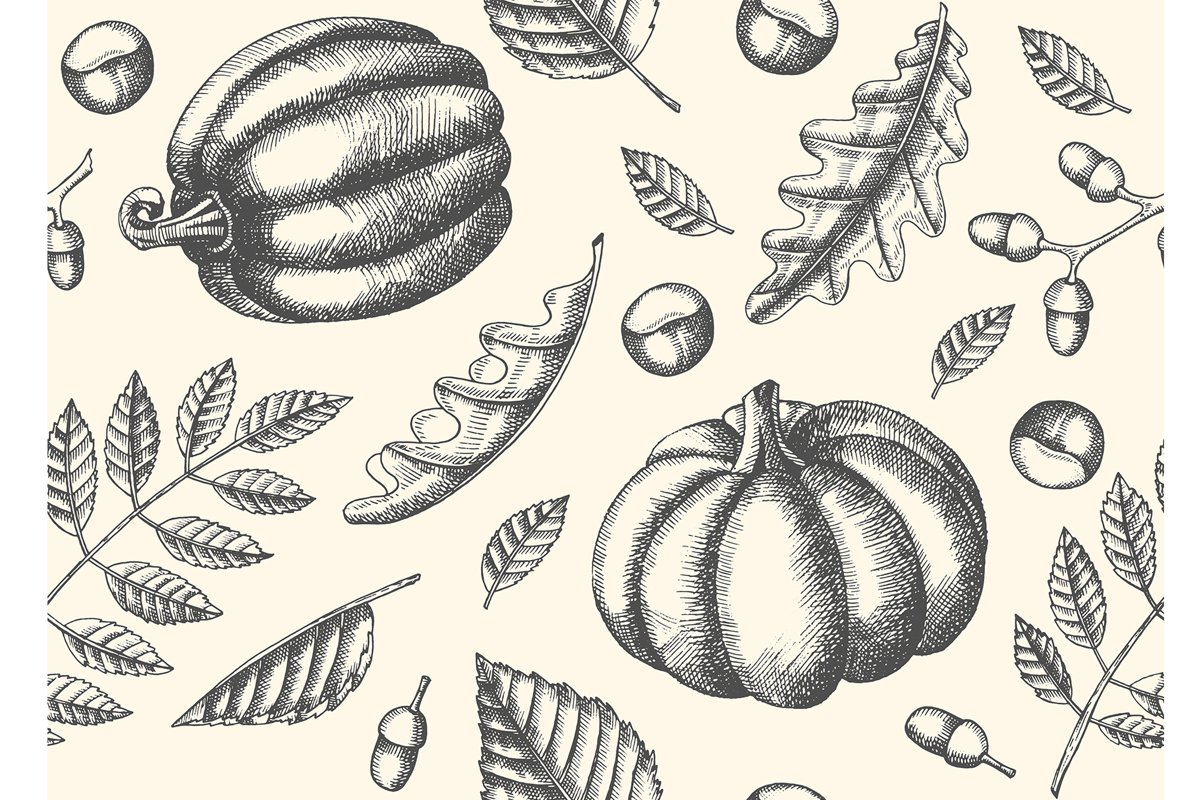 Seamless pattern with Hand drawn leaves and pumpkins. example image 1