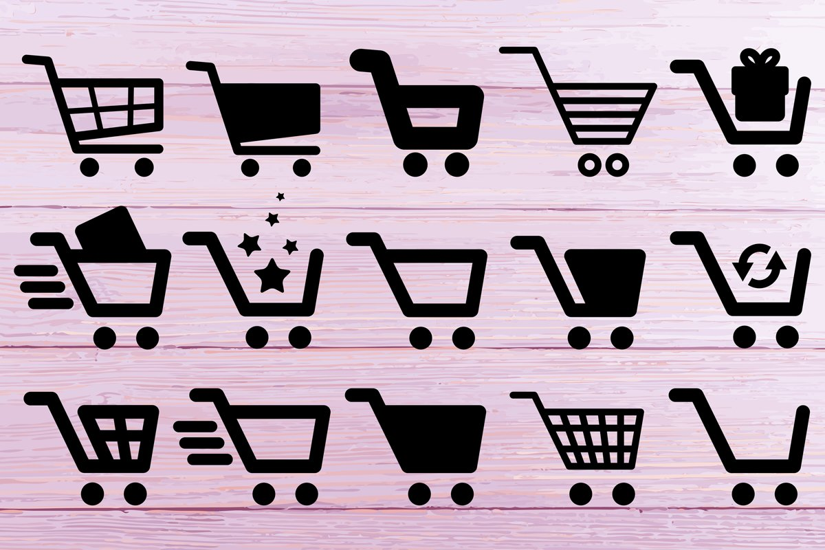 Shopping Cart SVG Silhouettes example image 1