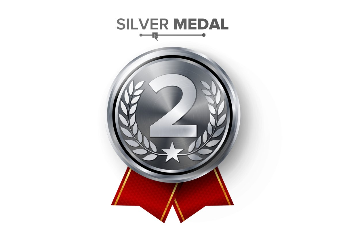 Silver 2st Place Medal Vector. Metal Realistic Badge With example image 1