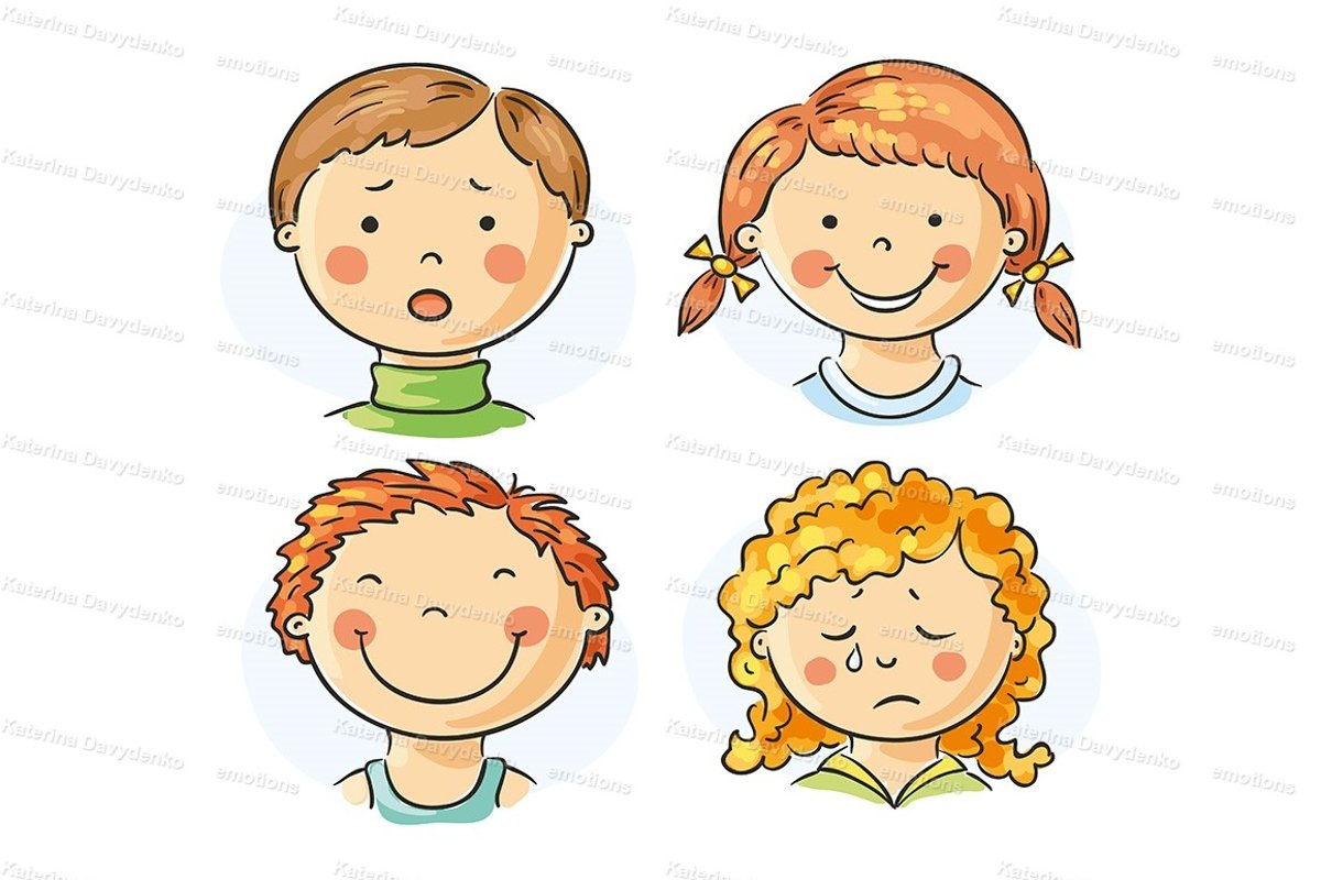 Kids faces with emotions example image 1